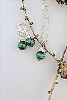Sady šperkov - malachit prírodný náušnice prívesok - v striebre - 10202138_