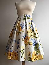Sukne - sukňa Kvety modro-žlté - 10199797_