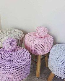 Úžitkový textil - Háčkovaný poťah na taburetku (Tyrkysová) - 10199503_