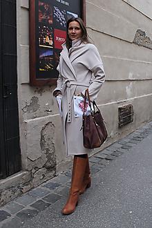 Kabáty - Ružovo- púdrový kabát s flexibilnými vreckami. - 10200083_