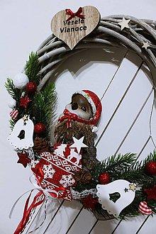 Dekorácie - Vianočný veniec-vrabček - 10199694_