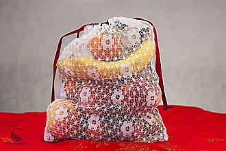 Úžitkový textil - Zerowaste vrecúško recyklované - záclona + biela - 10199792_