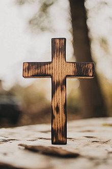Dekorácie - Drevený krížik pravidelný - 10200082_