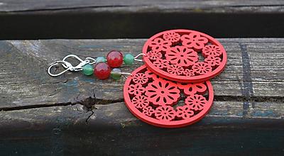 Náušnice - Jadeit, achát, drevo, Ag 925 náušnice - 10201029_