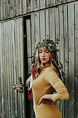 Ozdoby do vlasov - Prírodný lesný venček s perím - 10201134_