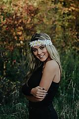 Ozdoby do vlasov - Elastická čelenka s margarétkami - 10203175_