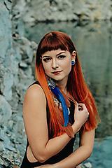 Ozdoby do vlasov - Jemný modrý hair clip s perím - 10203691_