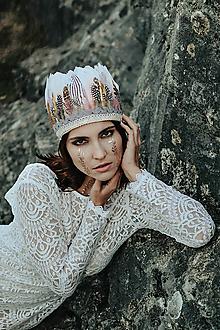 Ozdoby do vlasov - Romantická prírodná bohémska čelenka - 10201196_