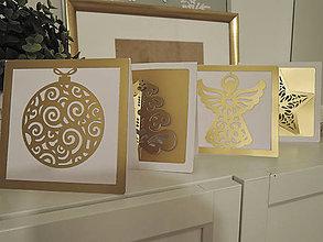 Dekorácie - Set vianočných pohľadníc - zlatá (Červená) - 10202987_