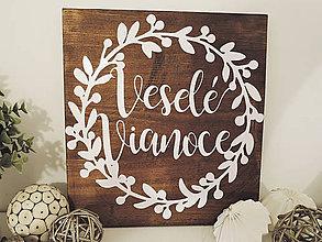 """Obrázky - """"Veselé vianoce""""  - vianočný veniec papier na dreve - 10203091_"""