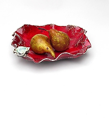 Nádoby - Misa červená vlnovková s ružou - 10200056_