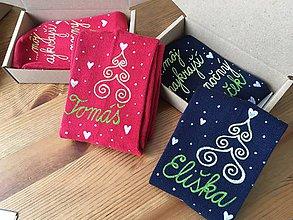 """Obuv - Maľované vianočné ponožky s nápisom: """"Si môj ... vianočný darček... - 10203390_"""