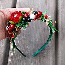 Ozdoby do vlasov - Čelenka zimná, vianočná, na večierok zeleno- červená - 10206495_