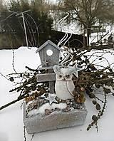 Dekorácie - Zimná dekorácia so sovičkou - 10205186_