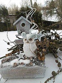 Dekorácie - Zimná dekorácia so sovičkou - 10205185_