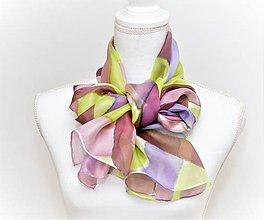 Šály - Ručne maľovaný hodvábny šál. - 10204717_