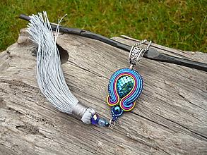 """Náhrdelníky - Soutache náhrdelník/prívesok """"Magic Lagoon"""" so strieborným strapcom - 10205172_"""