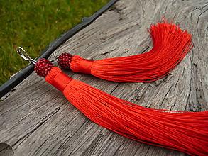 Náušnice - Náušnice Strapcové červené - 10207771_