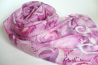 Šály - Růžová hedvábná šála. - 10206226_