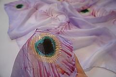 Šatky - hodvábna šatka Pierka na ružovom - 10205421_