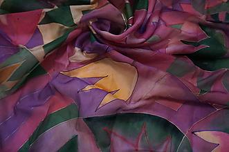 Šatky - hodvábna šatka Fialové tulipány - 10205369_
