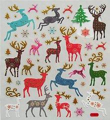 Papier - Sada samolepiek, 15x17 cm, vianočné, jeleň, jelenček - 10204284_