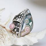 Prstene - Strieborný prsteň s oceánskym jaspisom a rodochrozitom - Hlbiny oceánu - 10204406_