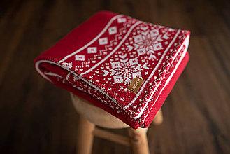 """Textil - Detská deka,""""Nórsky vzor"""", OEKO-TEX® - Červeno-Biela - 10204769_"""