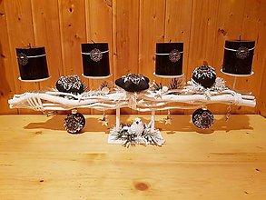 Dekorácie - adventný svietnik čierno-biely 65 cm s vôňou kávy - 10204975_