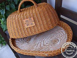 Nádoby - Oválny chlebník s podnosom 40x30x20 - 10204362_