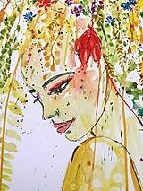 Obrazy - Akvarelový obraz Woman - Jar - 10206729_