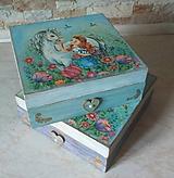 Krabičky - Dievčenská šperkovnica tyrkysová - Princezná a biely kôň - 10205448_