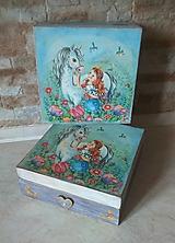 Krabičky - Dievčenská šperkovnica tyrkysová - Princezná a biely kôň - 10205449_