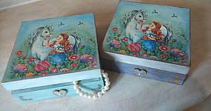 Krabičky - Dievčenská šperkovnica tyrkysová - Princezná a biely kôň - 10205451_