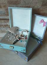 Krabičky - Dievčenská šperkovnica tyrkysová - Princezná a biely kôň - 10205453_