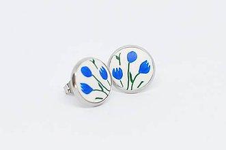 Náušnice - Modré tulipány - napichovacie náušnice - 10206794_