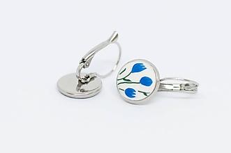 Náušnice - Modré tulipány - náušnice so zapínaním - 10207612_