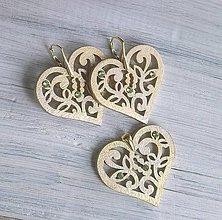 """Sady šperkov - Náušnice + prívesok """"Láska""""  (srdiečko zlaté) - 10204202_"""