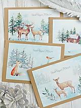 Papiernictvo - Vianočný pozdrav z lesa sada  - 10206691_