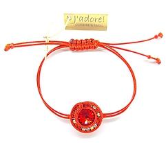 Náramky - Mini soutache náramok (červený s čírym a červeným štrasom) - 10204159_