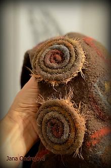 Čiapky - Plstená baretka v zemitých farbách - 10207138_