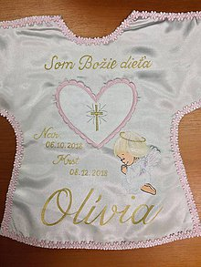 Detské oblečenie - Košielka na krst / saténové rúško na krst s anjelikom - 10206136_