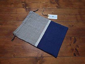 Úžitkový textil - Ľanové vrecko malé (natural - modré) - 10205638_
