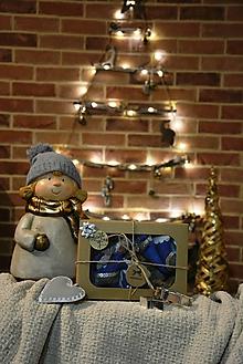 Dekorácie - Modrý vianočný set - 10207812_