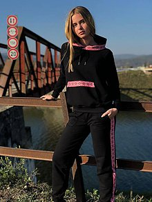 Nohavice - Teplákové nohavice čierne folklór - 10208453_