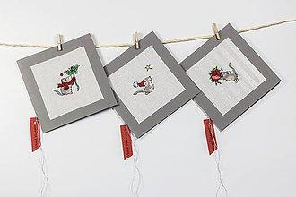 Papiernictvo - Vianočná pohľadnica I - vyšívaný pozdrav - 10204107_