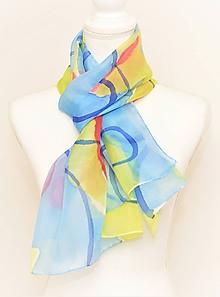 Šály - NIKOL - ručne maľovaný hodvábny šál. - 10209531_