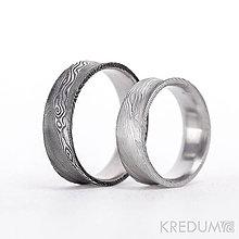Prstene - Kované svadobné obrúčky z nerezove oceli damasteel - Collium - 10209979_