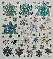 Papier - Sada samolepiek, 15x17 cm, vianočné, vločky, hviezdy - 10209717_