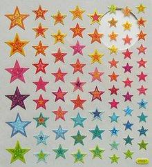 Papier - Sada samolepiek, 15x17 cm, vianočné, hviezdičky - 10210576_